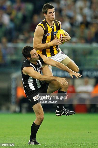 Ben Stratton of the Hawks marks the ball during the round four AFL match between the Collingwood Magpies and the Hawthorn Hawks at Melbourne Cricket...