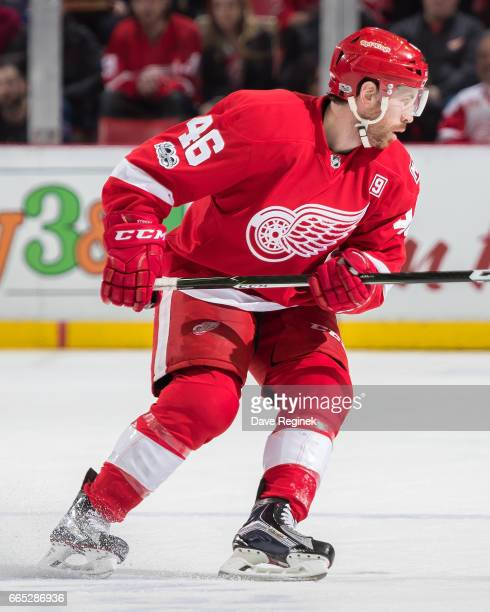 Ben Street of the Detroit Red Wings follows the play against the Toronto Maple Leafs during an NHL game at Joe Louis Arena on April 1 2017 in Detroit...