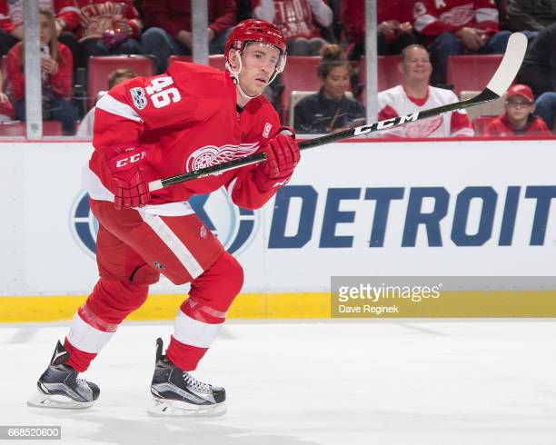 Ben Street of the Detroit Red Wings skates up ice against the Montreal Canadiens during an NHL game at Joe Louis Arena on April 8 2017 in Detroit...