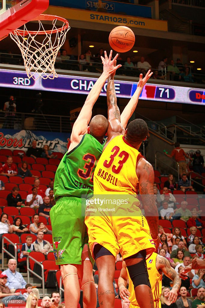 Ben Strong #32 of the Iowa Energy fights Franklin Hassell #33 of the Canton Charge for the rebound in an NBA D-League game on March 16, 2012 at the Wells Fargo Arena in Des Moines, Iowa.