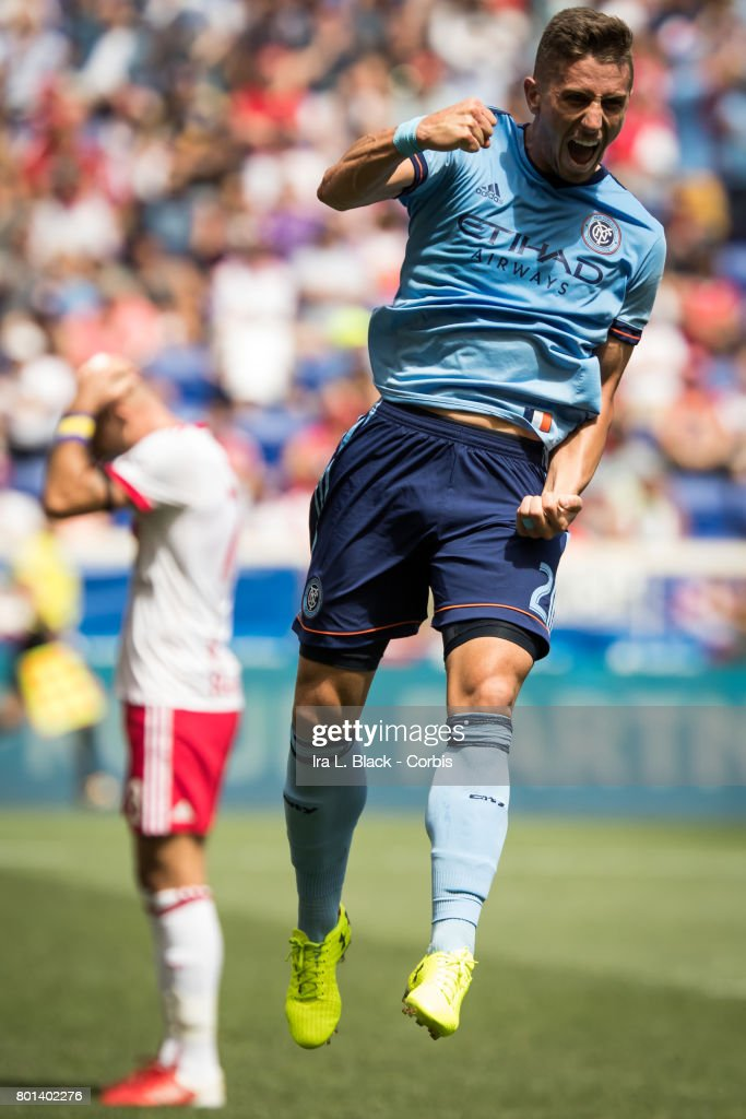Ben Sweat #2 of New York City FC celebrates after his score during the MLS Match between New York Red Bulls vs New York City FC. The New York Red Bulls won the match with a score of 1 to 0.