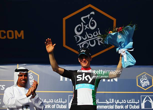 Ben Swift of Great Britain and Team SKY took the UAE Flag Jersey as leader of the Intermediate Sprint Classicication on stage one of the Dubai Tour...