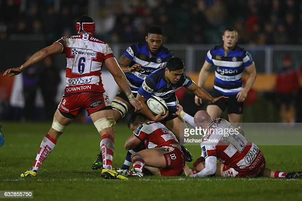 Ben Tapuai of Bath is tackled during the Anglo Welsh Cup match between Bath Rugby and Gloucester Rugby at the Recreation Ground on January 27 2017 in...