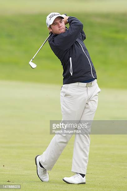 Ben Taylor of England in action during the 2012 St Andrews Trophy squad practice session at Portmarnock Golf Club on July 5 2012 in Portmarnock...