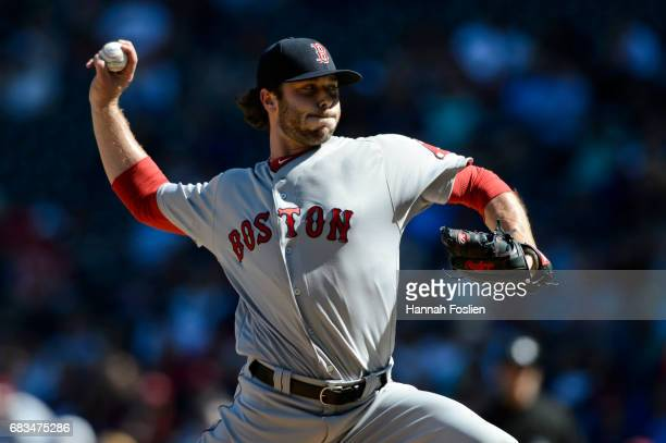 Ben Taylor of the Boston Red Sox delivers a pitch against the Minnesota Twins during the game on May 6 2017 at Target Field in Minneapolis Minnesota...