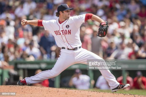 Ben Taylor of the Boston Red Sox delivers during the seventh inning of a game against the Tampa Bay Rays on April 17 2017 at Fenway Park in Boston...