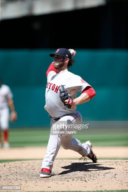Ben Taylor of the Boston Red Sox pitches during the game against the Oakland Athletics at the Oakland Alameda Coliseum on May 20 2017 in Oakland...
