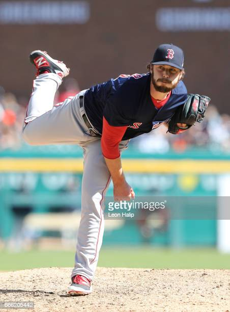 Ben Taylor of the Boston Red Sox pitches during the seventh inning of the opening day game against the Detroit Tigers on April 7 2017 at Comerica...