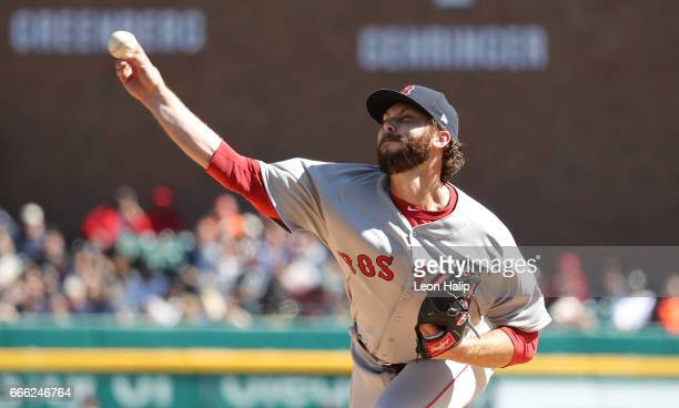 Ben Taylor of the Boston Red Sox pitches during the seventh inning of the game against the Detroit Tigers on April 8 2017 at Comerica Park in Detroit...