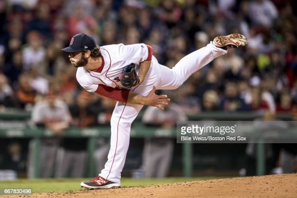Ben Taylor of the Boston Red Sox pitches during the third inning of a game against the Baltimore Orioles April 12 2017 at Fenway Park in Boston...