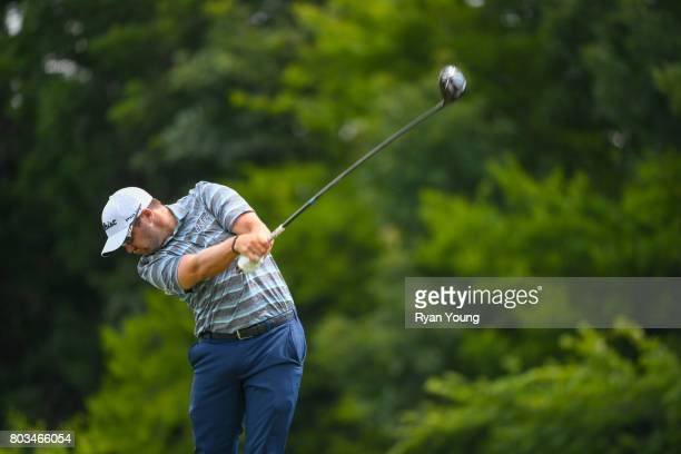Ben Taylor tees off on the third hole during the first round of the Webcom Tour Nashville Golf Open Benefitting the Snedeker Foundation at Nashville...