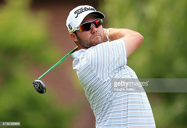 Ben Taylor watches his tee shot on the sixth hole during the first round of the RBC Canadian Open at Glen Abbey Golf Club on July 21 2016 in Oakville...