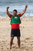 Ben Te'o celebrates a point during the volleyball match during the England recovery session held at Coogee Beach on June 20 2016 in Sydney Australia