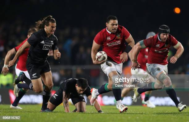 Ben Te'o of the Lions makes a break during the 2017 British Irish Lions tour match between the Maori All Blacks and the British Irish Lions at the...