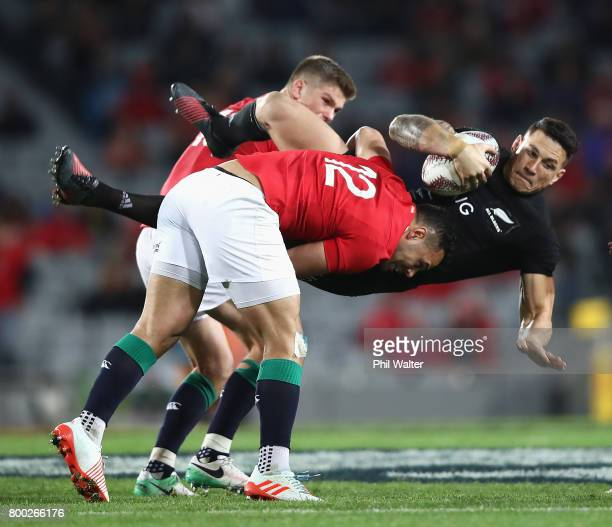 Ben Te'o of the Lions tackles Sonny Bill Williams of the All Blacks during the first test match between the New Zealand All Blacks and the British...