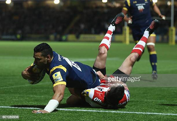 Ben Te'o of Worcester dives over for the first try during the Aviva Premiership match between Worcester Warriors and Gloucester at Sixways Stadium on...