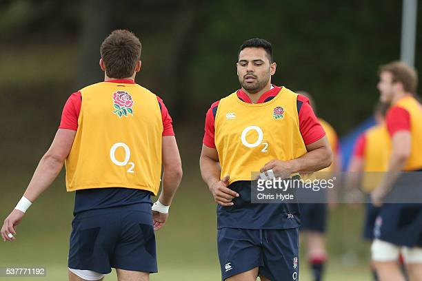 Ben Te'o runs during an England Rugby Union media opportunity at The Southport School on June 3 2016 in Gold Coast Australia
