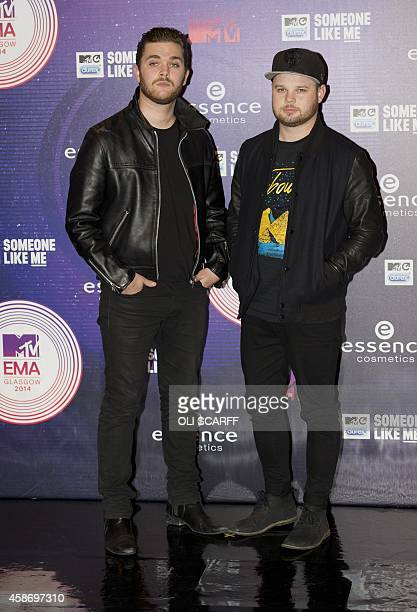 Ben Thatcher and Mike Kerr of British rock band Royal Blood pose for pictures as they arrive for the 2014 MTV Europe Music Awards in Glasgow Scotland...