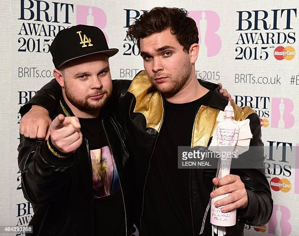 Ben Thatcher and Mike Kerr of British rock band Royal Blood pose with their British group award at the BRIT Awards 2015 in London on February 25 2015...