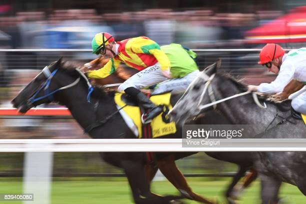 Ben Thompson riding Oak Door winning Race 9 during Melbourne Racing at Moonee Valley Racecourse on August 26 2017 in Melbourne Australia