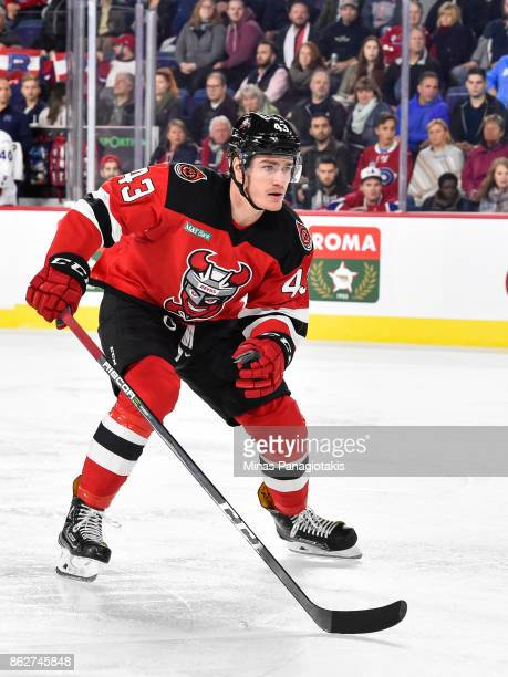 Ben Thomson of the Binghamton Devils skates against the Laval Rocket during the AHL game at Place Bell on October 13 2017 in Laval Quebec Canada The...