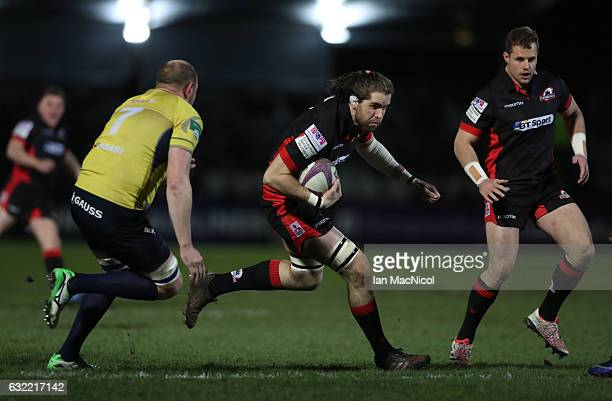 Ben Toolis of Edinburgh runs with the ball during the European Rugby Challenge Cup match between Edinburgh Rugby and Timisoara Saracens at Myreside...
