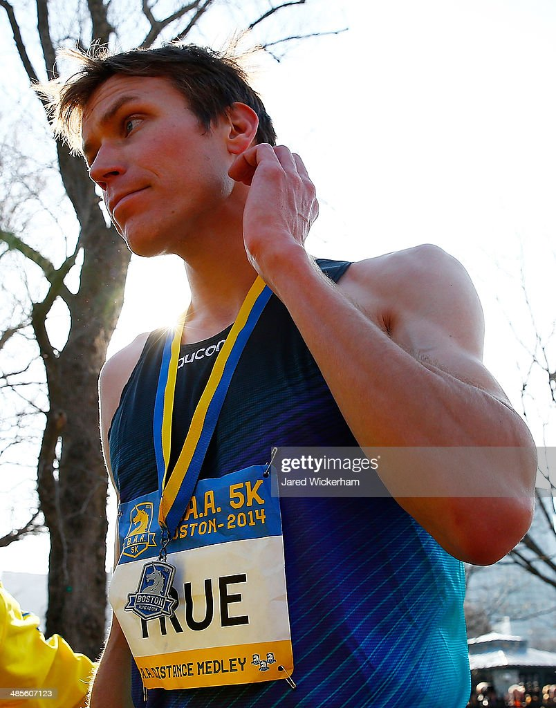 Ben True of the United States walks near the finish line of the 2014 B.A.A. 5K after finishing in second place on April 19, 2014 in Boston, Massachusetts.