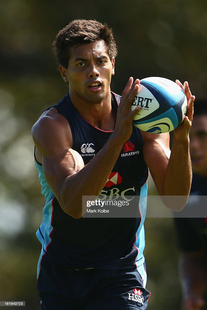 Ben Volavola catches a pass during a Waratahs Super Rugby training session at Victoria Barracks on February 18, 2013 in Sydney, Australia.
