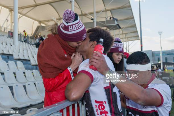 Ben Volavola of North Harbour and actress Shailene Woodley kissing following the Mitre 10 Cup Semi Final match between Canterbury and North Harbour...