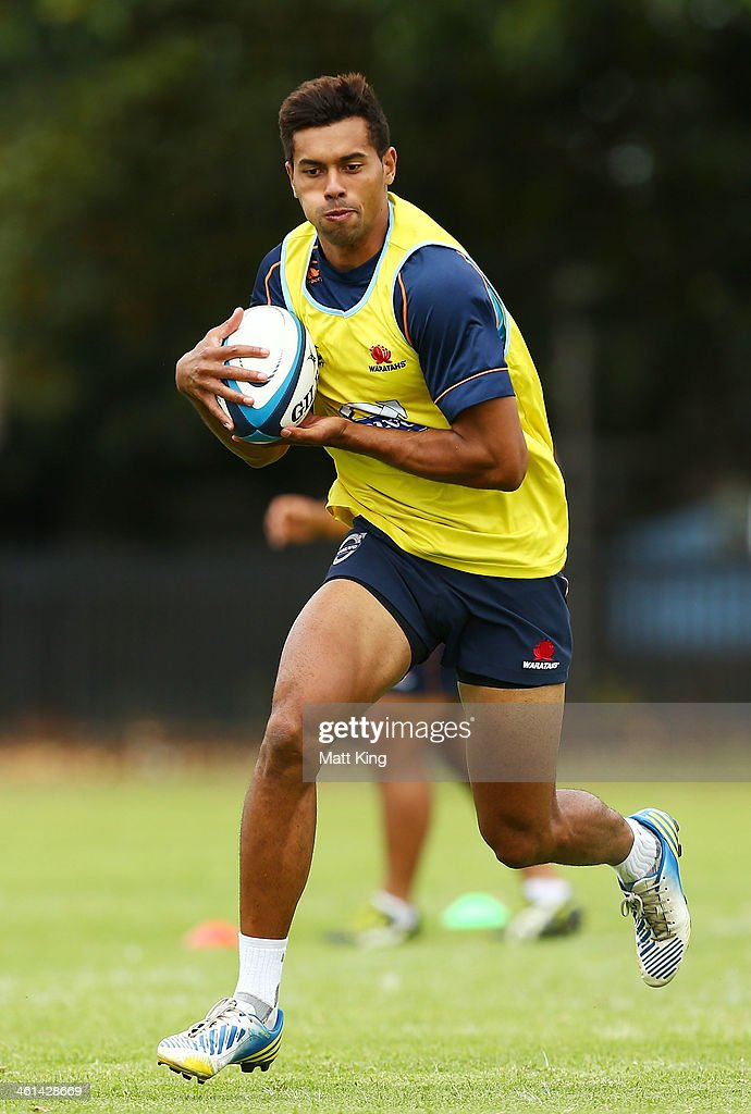Ben Volavola runs with the ball during a Waratahs Super Rugby training sesssion at Moore Park on January 9, 2014 in Sydney, Australia.