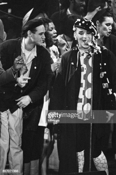 Ben VolpelierePierrot and Boy George performing at the Stand by Me AIDS Day Benefit concert at Wembley Arena London 1st April 1987