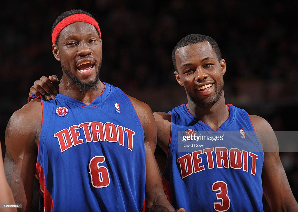 Ben Wallace and Rodney Stuckey of the Detroit Pistons during game against the New York Knicks on January 18 2010 at Madison Square Garden in New York...