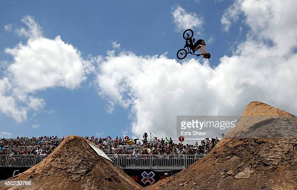 Ben Wallace of Great Britain competes in the BMX Dirt Finals during the X Games Austin at Circuit of The Americas on June 7 2014 in Austin Texas