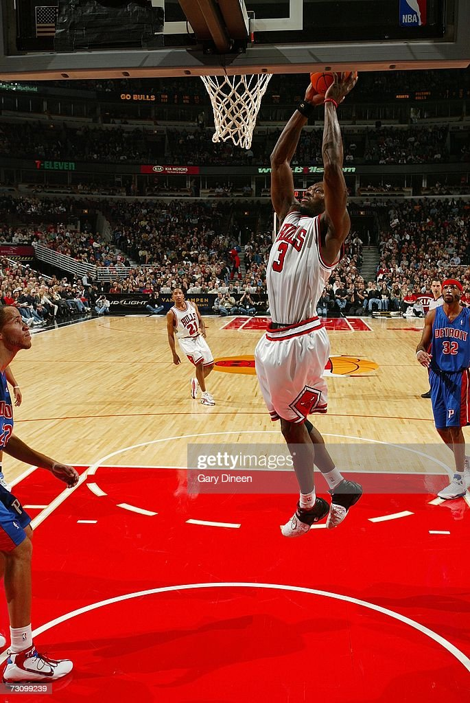 Ben Wallace #3 of the Chicago Bulls dunks against the Detroit Pistons during the game at the United Center on January 6, 2007 in Chicago, Illinois. The Bulls won 106-89.