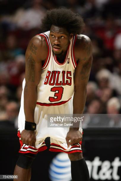 Ben Wallace of the Chicago Bulls reacts during a game against the Sacramento Kings at the United Center on November 3 2006 in Chicago Illinois The...