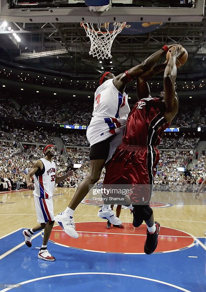 Ben Wallace of the Detroit Pistons blocks Shaquille O'Neal of the Miami Heat in game five of the Eastern Conference Finals during the 2006 NBA...