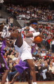 Ben Wallace of the Detroit Pistons comes down with a rebound against the Toronto Raptors during game 5 of the Eastern Conference quarterfinals of the...