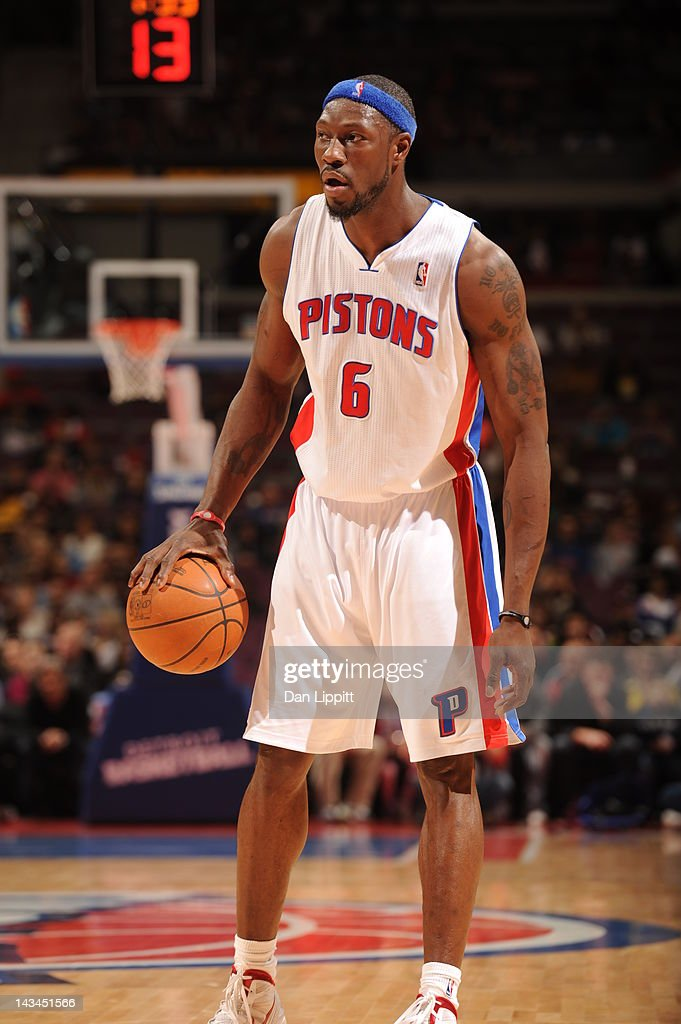 <a gi-track='captionPersonalityLinkClicked' href=/galleries/search?phrase=Ben+Wallace&family=editorial&specificpeople=201480 ng-click='$event.stopPropagation()'>Ben Wallace</a> #6 of the Detroit Pistons dribbles the ball during the game between the Detroit Pistons and the Philadelphia 76ers on April 26, 2012 at The Palace of Auburn Hills in Auburn Hills, Michigan.