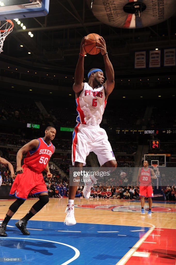<a gi-track='captionPersonalityLinkClicked' href=/galleries/search?phrase=Ben+Wallace&family=editorial&specificpeople=201480 ng-click='$event.stopPropagation()'>Ben Wallace</a> #6 of the Detroit Pistons goes to the basket during the game between the Detroit Pistons and the Philadelphia 76ers on April 26, 2012 at The Palace of Auburn Hills in Auburn Hills, Michigan.
