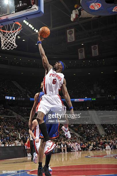 Ben Wallace of the Detroit Pistons goes up for a rebound over Jared Jeffries of the New York Knicks in a game at the Palace of Auburn Hills on...