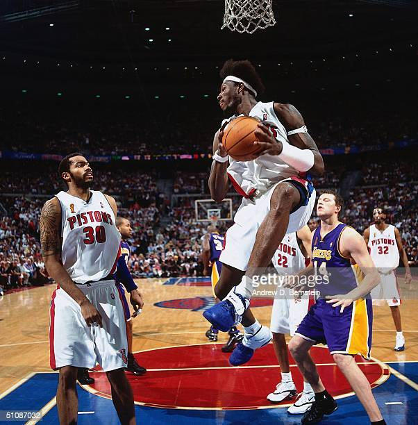 Ben Wallace of the Detroit Pistons grabs a rebound during Game Four of the 2004 NBA Finals on June 13 2004 at The Palace of Auburn Hills in Auburn...