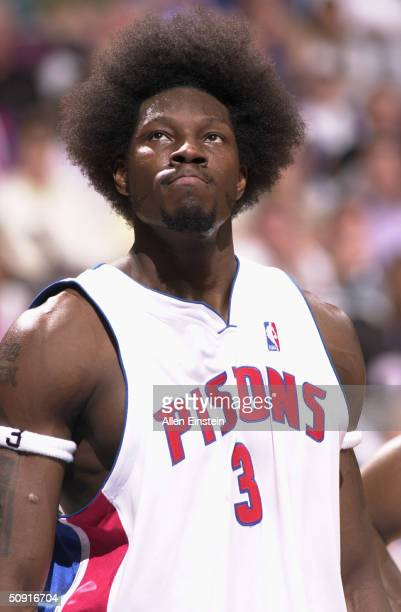 Ben Wallace of the Detroit Pistons looks on against the Indiana Pacers in Game six of the Eastern Conference Finals during the 2004 NBA Playoffs on...
