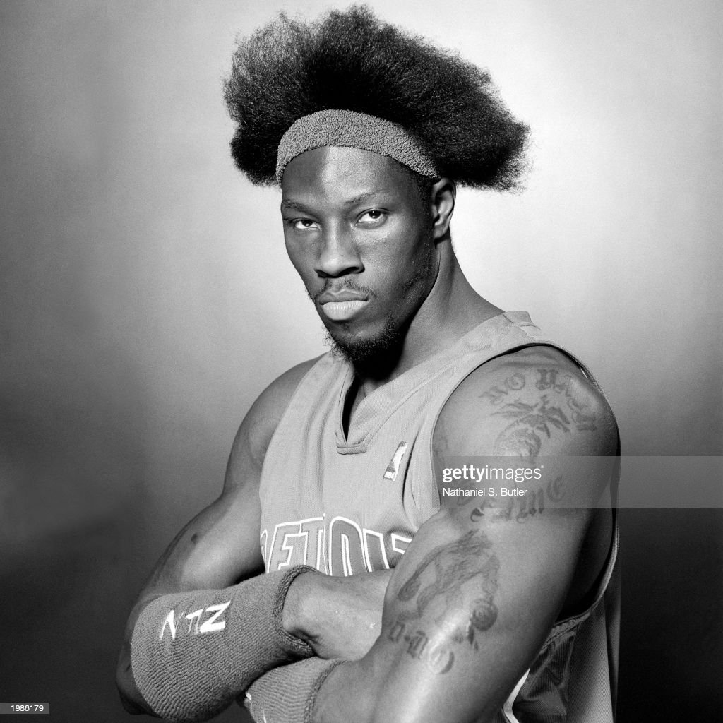 <a gi-track='captionPersonalityLinkClicked' href=/galleries/search?phrase=Ben+Wallace&family=editorial&specificpeople=201480 ng-click='$event.stopPropagation()'>Ben Wallace</a> #3 of the Detroit Pistons poses for a portrait at the Palace of Auburn Hills on March 13, 2003 in Auburn Hills, Michigan.