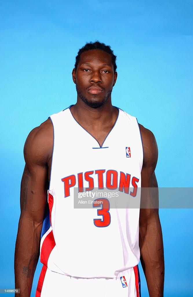 Ben Wallace #3 of the Detroit Pistons poses for a portrait during Media Day on September 30, 2002 at the Palace of Auburn Hills in Auburn Hills, Michigan.
