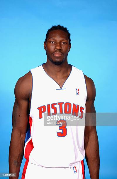 Ben Wallace of the Detroit Pistons poses for a portrait during Media Day on September 30 2002 at the Palace of Auburn Hills in Auburn Hills Michigan...