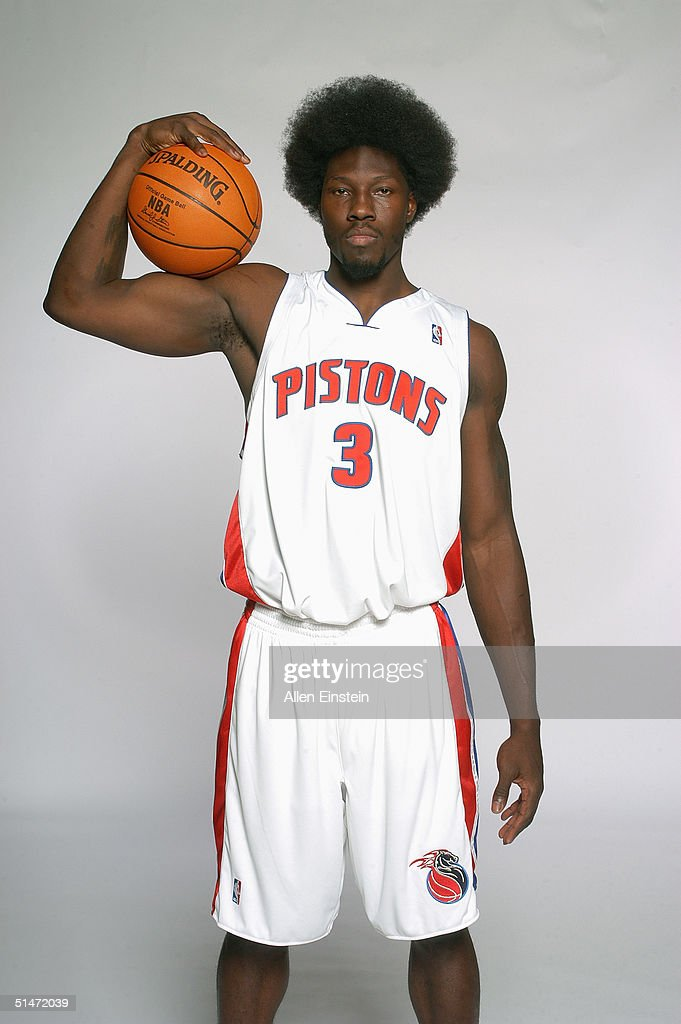 <a gi-track='captionPersonalityLinkClicked' href=/galleries/search?phrase=Ben+Wallace&family=editorial&specificpeople=201480 ng-click='$event.stopPropagation()'>Ben Wallace</a> #3 of the Detroit Pistons poses for a portrait during the team's Media Day on October 4, 2004 in Auburn Hills, Michigan.