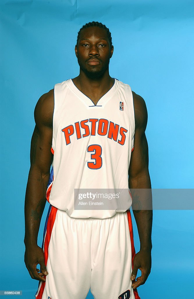 <a gi-track='captionPersonalityLinkClicked' href=/galleries/search?phrase=Ben+Wallace&family=editorial&specificpeople=201480 ng-click='$event.stopPropagation()'>Ben Wallace</a> #3 of the Detroit Pistons poses for a portrait during the Pistons Media Day on October 3, 2005 in Auburn Hills, Michigan.