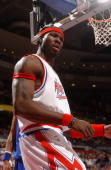 Ben Wallace of the Detroit Pistons reacts during the game against the Denver Nuggets on January 26 2005 at the Palace of Auburn Hills in Auburn Hills...