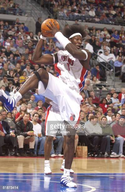 Ben Wallace of the Detroit Pistons rebounds against the Cleveland Cavaliers on December 16 2004 at the Palace of Auburn Hills in Auburn Hills...