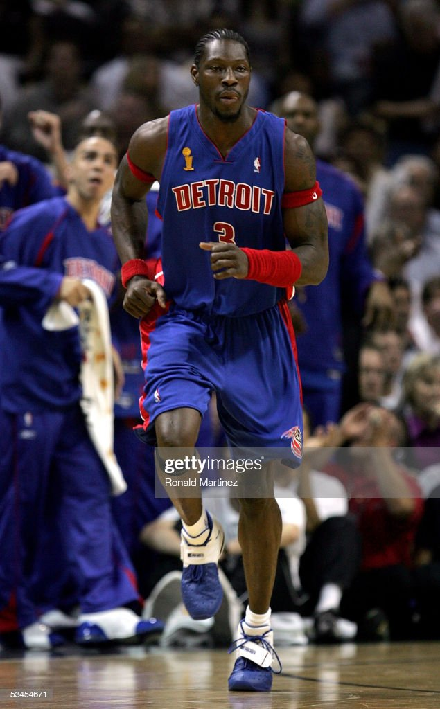 Ben Wallace of the Detroit Pistons runs upcourt during the first half of the game against the San Antonio Spurs in Game seven of the 2005 NBA Finals...